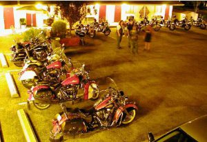Parking lot full of Indian Motorcycles