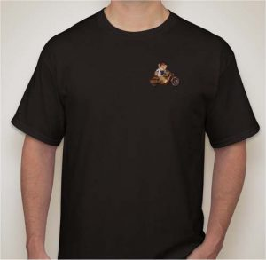 To commemorate the occasion of giving away an Indian Scout through a raffle, we are covering the design of the shirt with a Shriners bear on a Scout