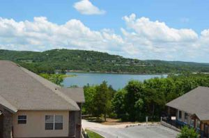 Photo showing the lake from the balcony of one of our condos in Branson.