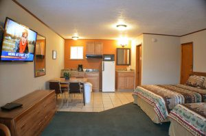 Photo of our kitchenette showing the complete interior of the unit
