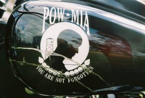 The POW MIA emblem is beautifully painted on both sides of the gas tank as a show of rememberance of those who gave so much. Guests who stay here on vacation simply have to ask and we will roll out the motorcycle for all to see.