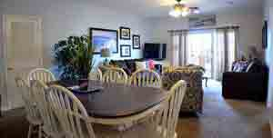A favorite of large families of up to 12 people. Large table, many beds, great seating.