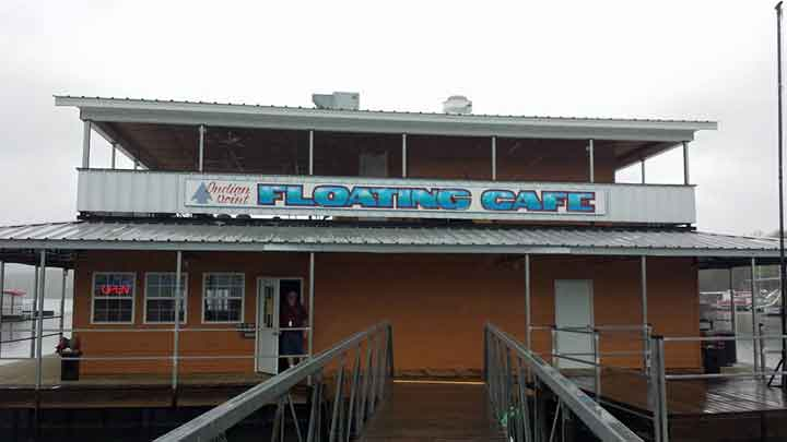 Across the street from us is the floating cafe. They serve breakfast lunch and dinner and have a wide variety of things to eat