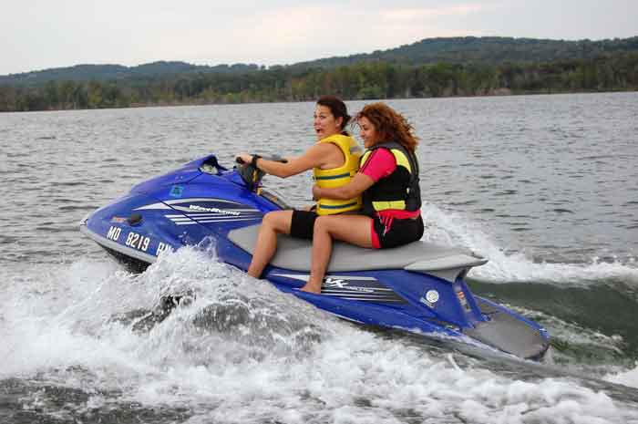 Handan and Aysen spending a day out on the lake on a rental jet ski from Indian Point Marina