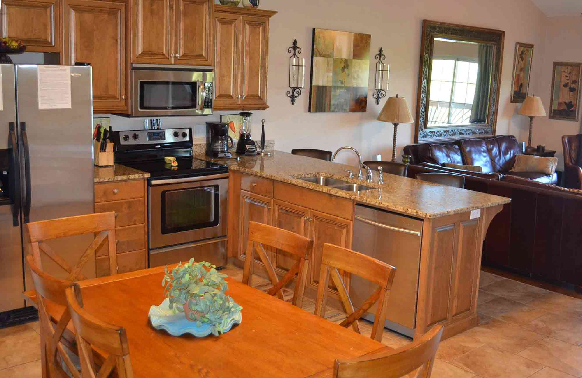 This is a header image that shows the kitchen in this nightly rental table rock lake condo