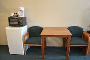 We supply all of our standard rooms with a microwave, coffee maker, and small refrigerator.