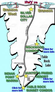 This map shows our 3 locations in great detail and how close we are to Table Rock Lake and Silver Dollar City