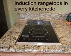 Our kitchenettes are the only commercially run resort that feature induction rangetops in the state of Missouri.