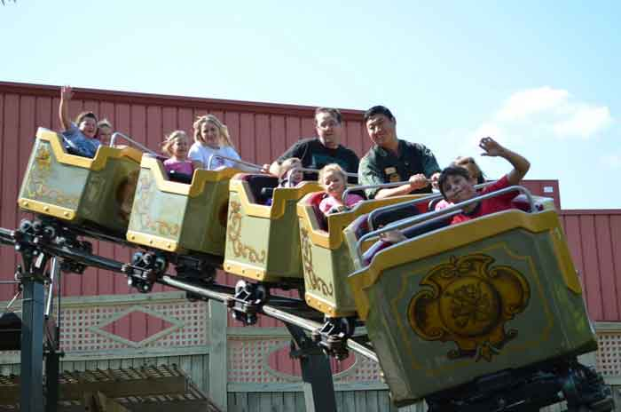 There is a great roller coaster ride for the little ones in the Half Dollar Holler section of Silver Dollar City. If your child is 7 or less they will truly enjoy this ride