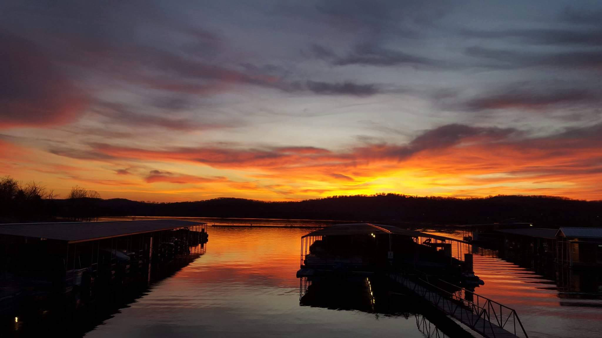 The sunset over Indian Point Marina in Branson, Missouri