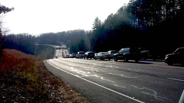 Here is another view of the traffic waiting to get into Silver Dollar City. Most of the people are wondering to themselves how are all these people already in the park having so much fun and we are stuck out here?